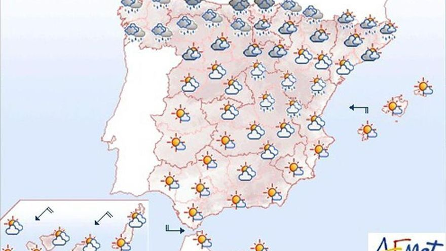 Se esperan nubes con precipitaciones en el extremo norte peninsular