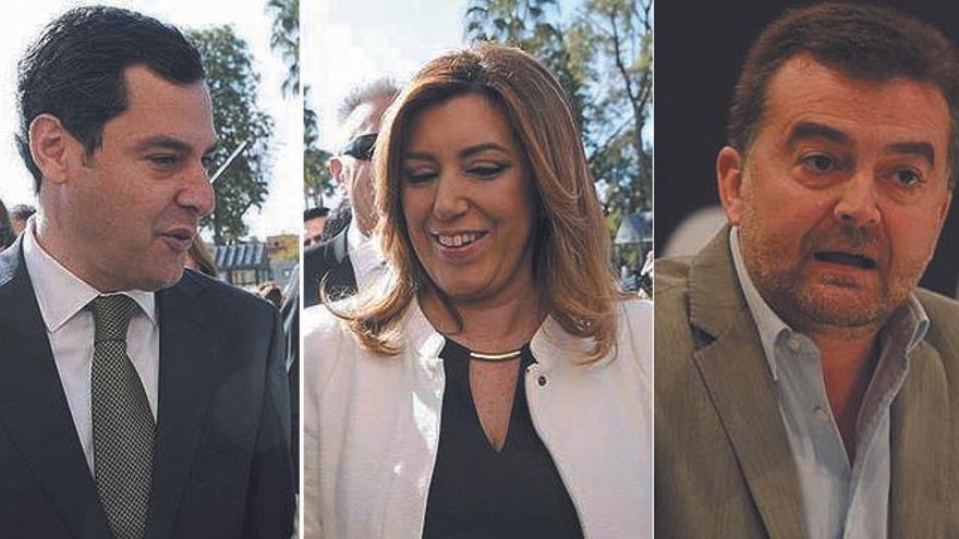 Juan Manuel Moreno, Susana Díaz y Antonio Maíllo.