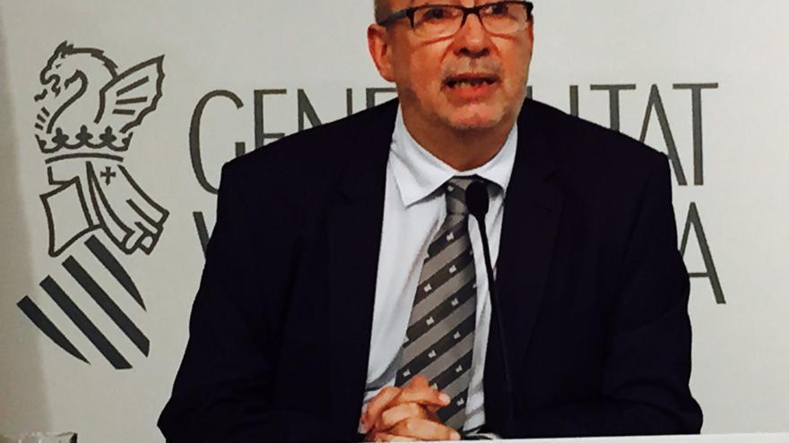 El conseller de Transparencia, Manuel Alcaraz, en rueda de prensa