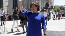 """Soraya Sáenz de Santamaría anuncia su candidatura para presidir el PP: """"Me ofrezco para conseguir la unidad"""""""