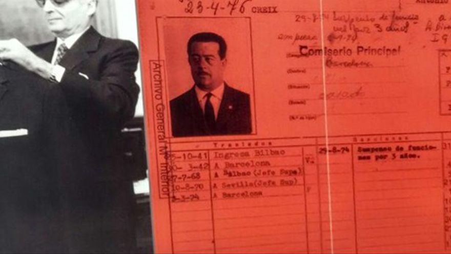 Ficha del comisario Juan Creix, conocido torturador durante el franquismo  Foto: TOMEU FERRER