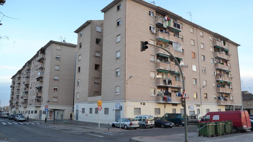 Imagen de los edificios de viviendas de alquiler social propiedad de la Generalitat Valenciana del Grupo San Lorenzo, en Castellón.