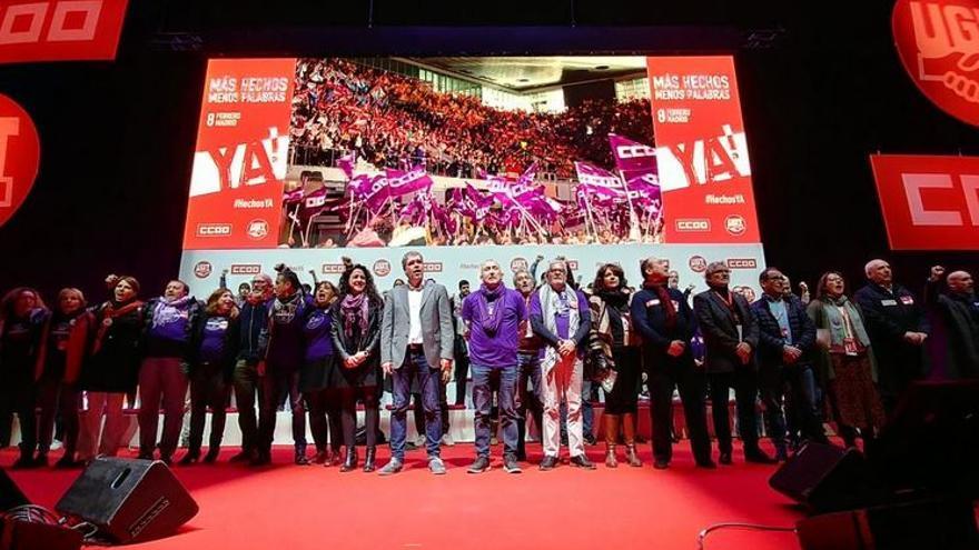 Los líderes de UGT y CCOO en la movilización de ambos sindicatos en Madrid este 8 de febrero.