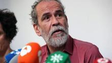El actor Willy Toledo durante una rueda de prensa tras su primera incomparecencia.