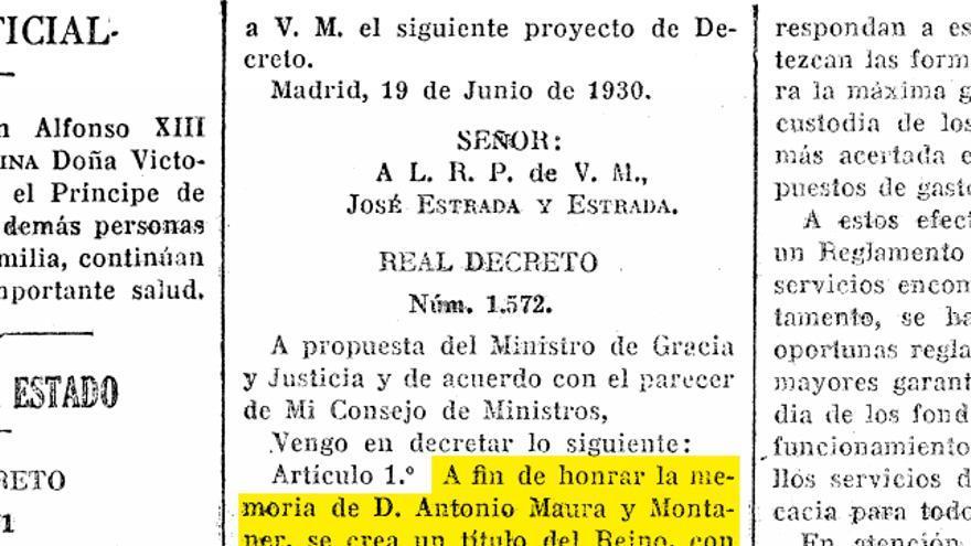Decreto por el que se concede el Ducado de Maura publicado en la Gazeta de Madrid
