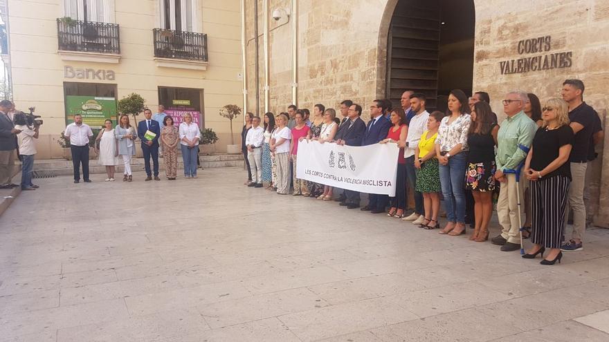 Los diputados de Vox se han situado al margen del resto en la concetración de las Corts Valencianes.
