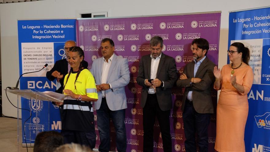 José Alberto Díaz, alcalde de La Laguna; Fernando Clavijo, presidente del Gobierno canario, y Carlos Alonso, titular del Cabildo tinerfeño