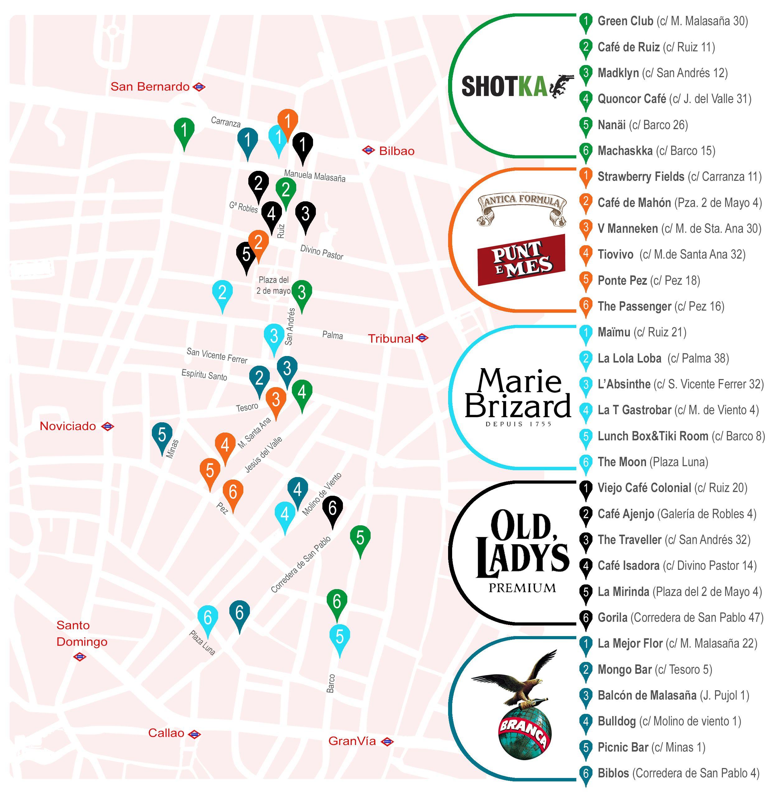 Mapa de los locales participantes en Coctelsaña 2015, por rutas