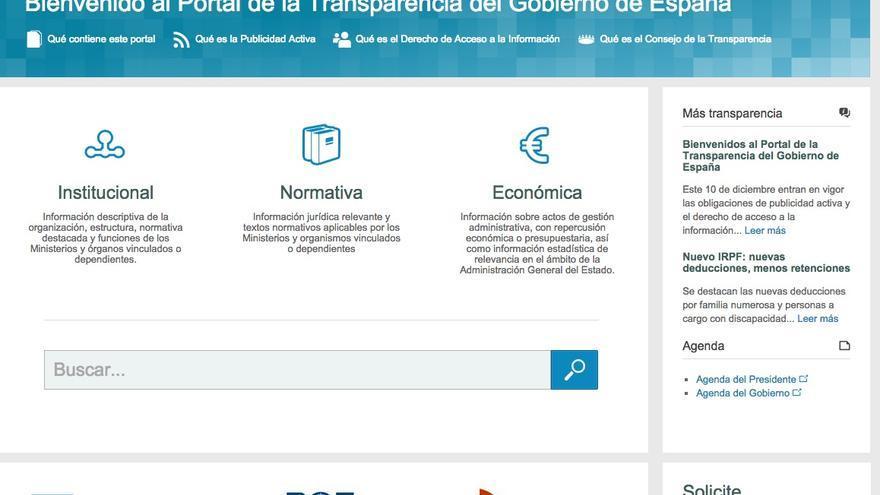 Web del 'Portal de la Transparencia del Gobierno de España'.