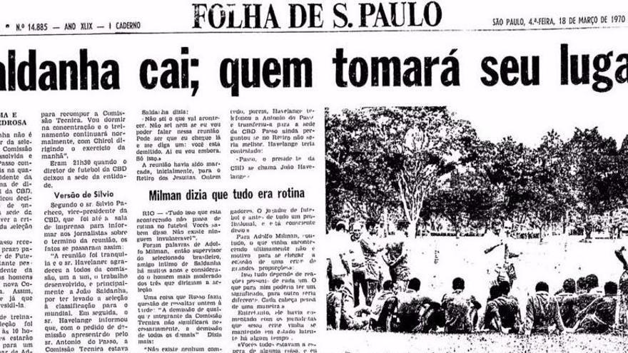 La noticia de la caída de Saldanha en Folha de São Paulo