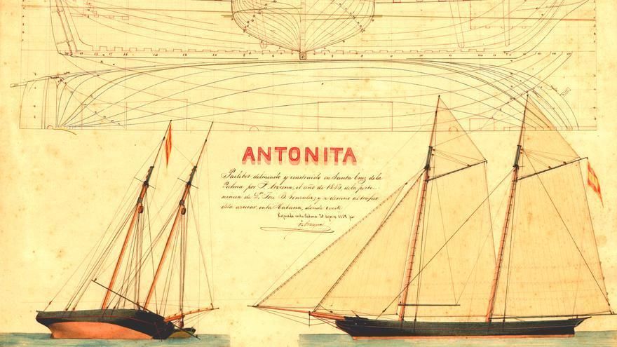 Plano de la embarcación la 'Antonita'  recogido en el atlas.