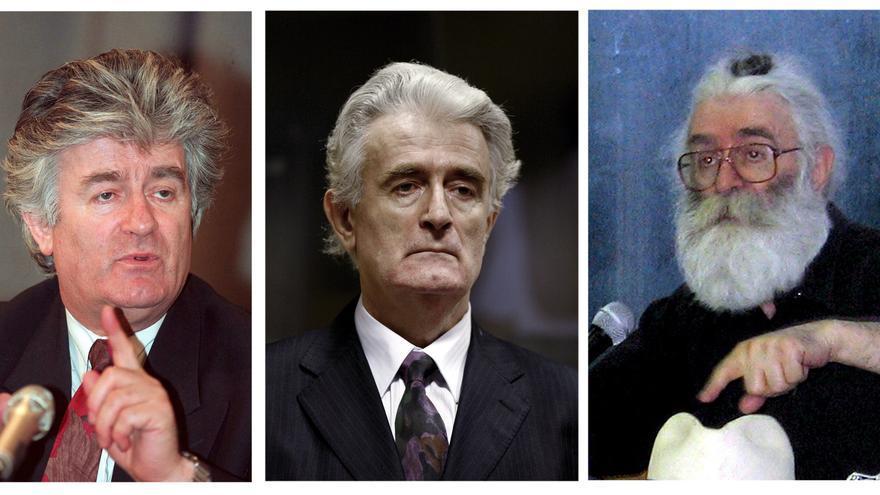 Radovan Karadžić en tres momentos de su vida: de izquierda a derecha, en Moscú en 1994, en el tribunal de La Haya en 2008 y bajo su disfraz como doctor Dragan Dabic
