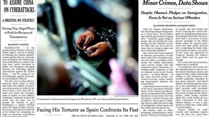 Portada del New York Times con un reportaje destacado sobre la querella argentina que investiga crímenes del franquismo