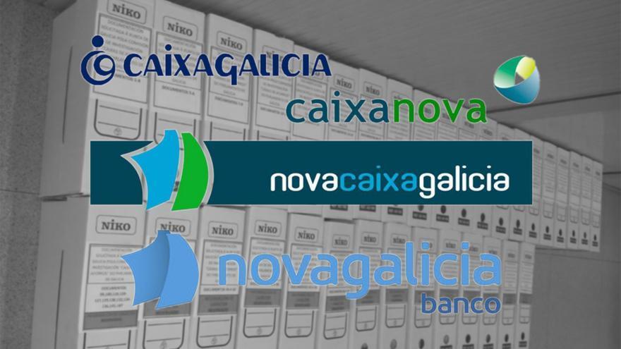 Logotipos de las desaparecidas grandes cajas gallegas y de la entidad resultante de la fusión