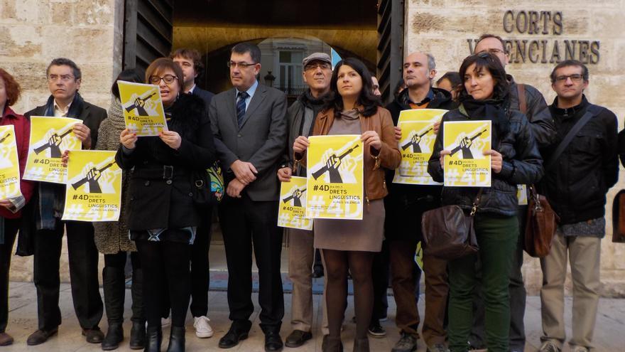 Un momento de la lectura del manifiesto por los derechos lingüísticos a las puertas de las Corts Valencianes