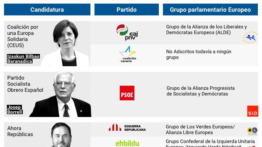Las candidaturas a las elecciones europeas y los grupos del Parlamento Europeo a los que pertenecen