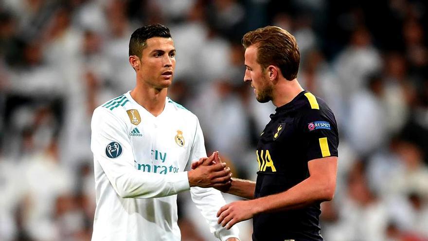 Cristiano Ronaldo y Kane en el Real Madrid-Tottenham