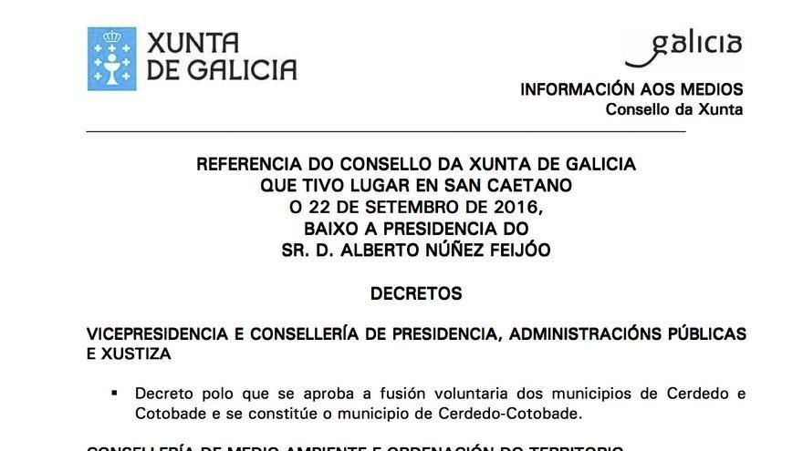 Fragmento de la referencia del Consello da Xunta del 22 de septiembre de 2016