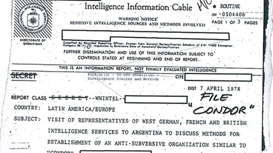 Imagen del documento de la CIA desclasificado que describe la visita de los servicios de inteligencia europeos a la secretaría de coordinación del Plan Cóndor.