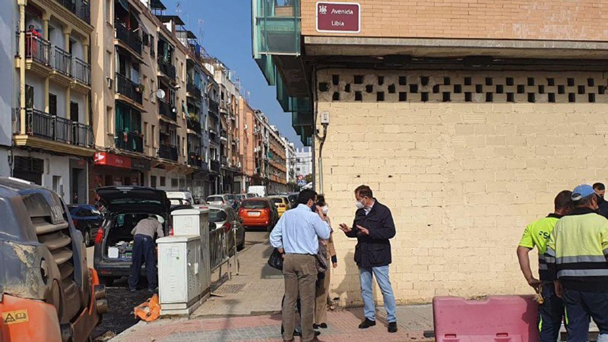 Obras en la avenida de Libia en Córdoba capital.