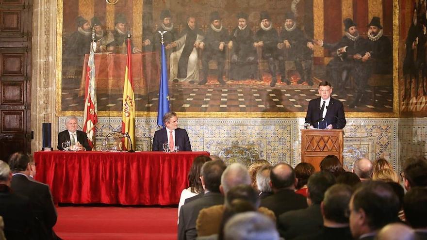 El president Ximo Puig durante el acto de entrega del premio de la Fundación Manuel Broseta
