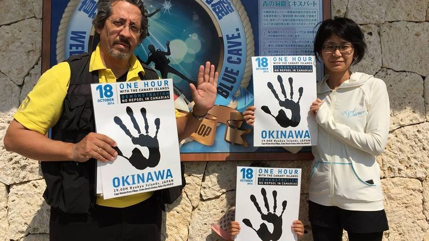 Desde Okinawa (Japón), también protestaron contra las prospecciones de Repsol en Canarias.