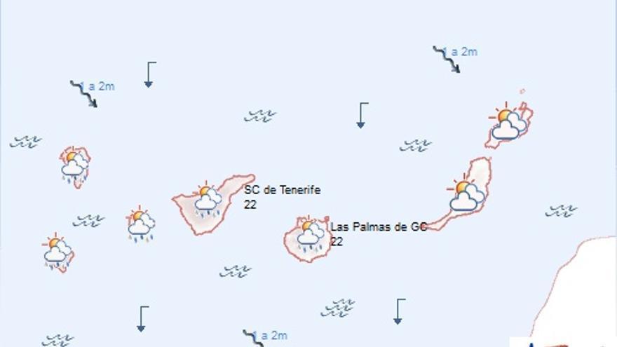 Previsión de la Agencia Estatal de Meteorología en Canarias para este jueves, 30 de octubre de 2014.