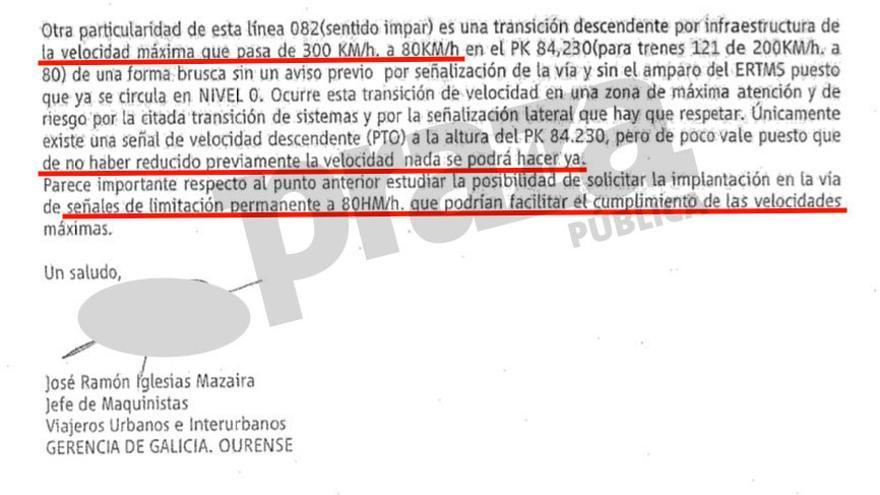 Advertencia a Renfe del riesgo de un accidente en Angrois como el que acabó sucediendo realizada por un maquinista jefe