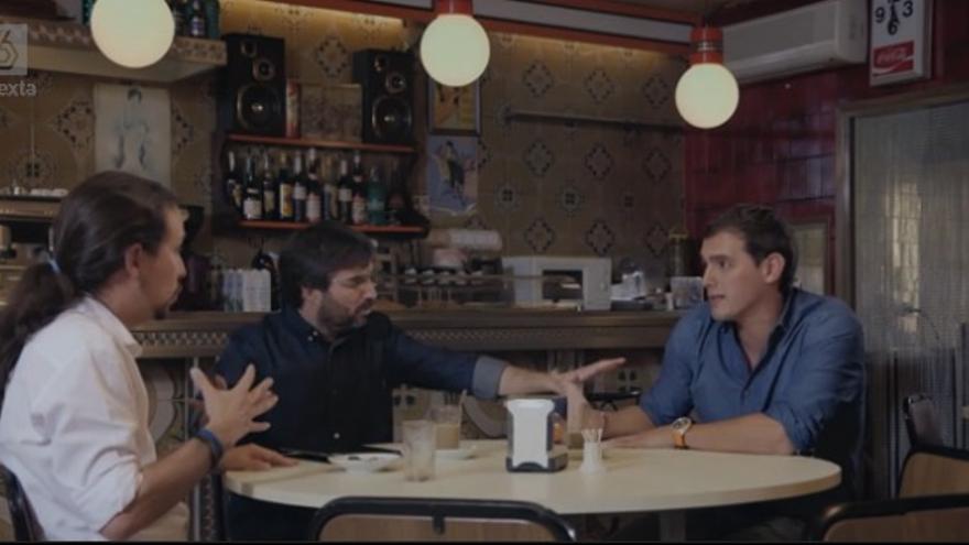 Pablo Iglesias y Albert Rivera, durante el debate en La Sexta moderado por Jordi Évole.