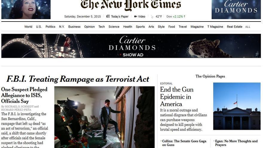 Portada del New York Times día 5 de diciembre de 2015
