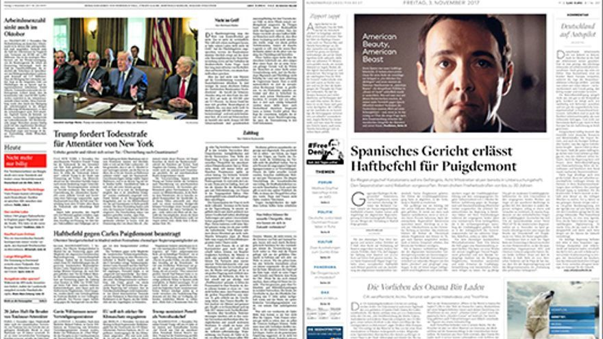 Portadas del Frankfurter Allgemeine y del Die Welt.