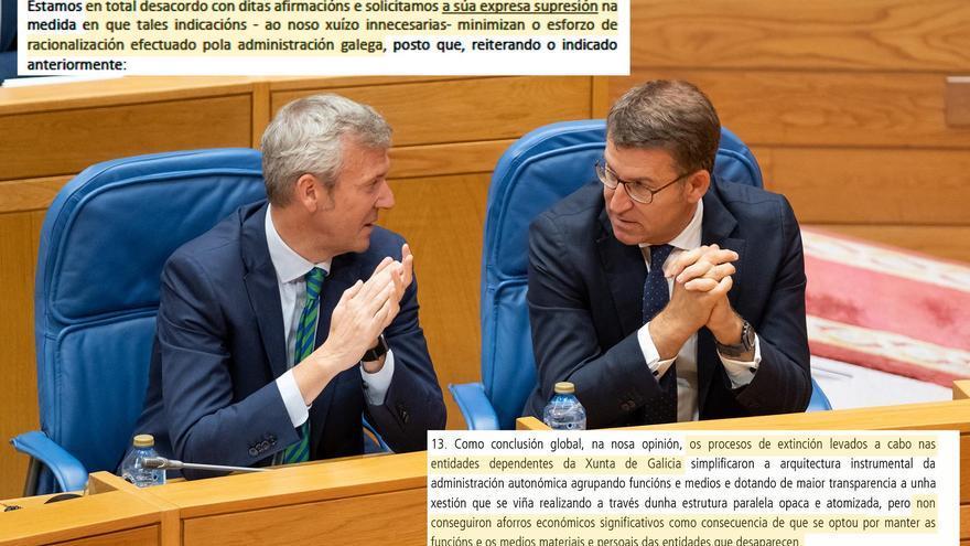 Conclusión de Contas y protesta de la Xunta, sobre una imagen de Feijóo y su vicepresidente, Alfonso Rueda