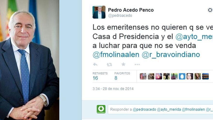 El alcalde de Mérida (PP) replica a Monago su deseo de vender la casa del Presidente de la Junta en la capital autonómica / Twitter @pedroacedo