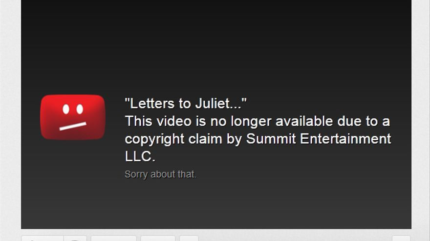 Aviso de infracción de derechos de autor en YouTube