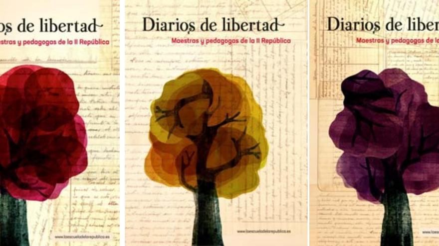 Uno de los carteles de la exposición sobre las maestras de la República