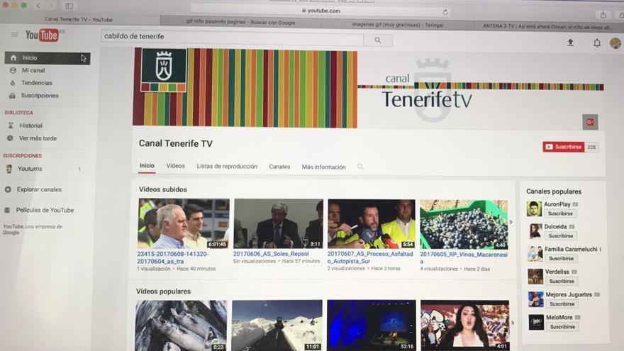 Canal en YouTube del Cabildo de Tenerife, en un pantallazo