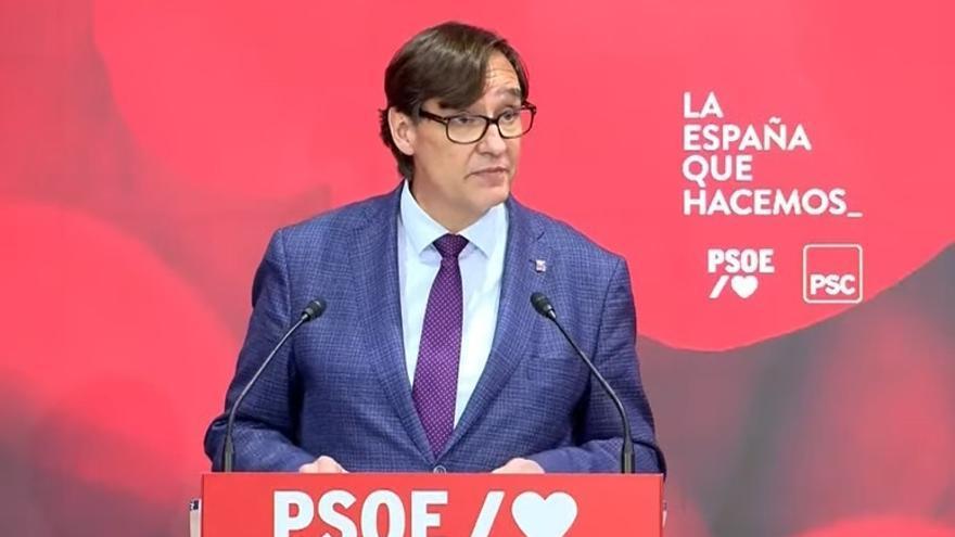 El líder del PSC en el Parlament, Salvador Illa, en su intervención en la clausura del acto telemático de presentación de la Ponencia de Inclusión Social y Políticas de Bienestar para el 40 Congreso Federal del PSOE, a 11 de junio de 2021.