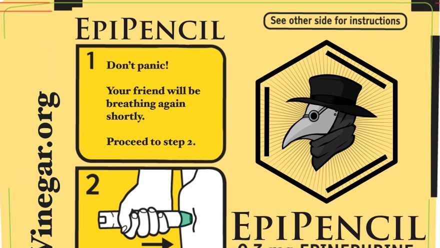 Etiqueta con las indicaciones del EpiPencil