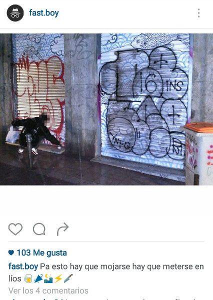 Captura del instagram de uno de los autores de varias pintadas, en la que se vanagloria de su acción.