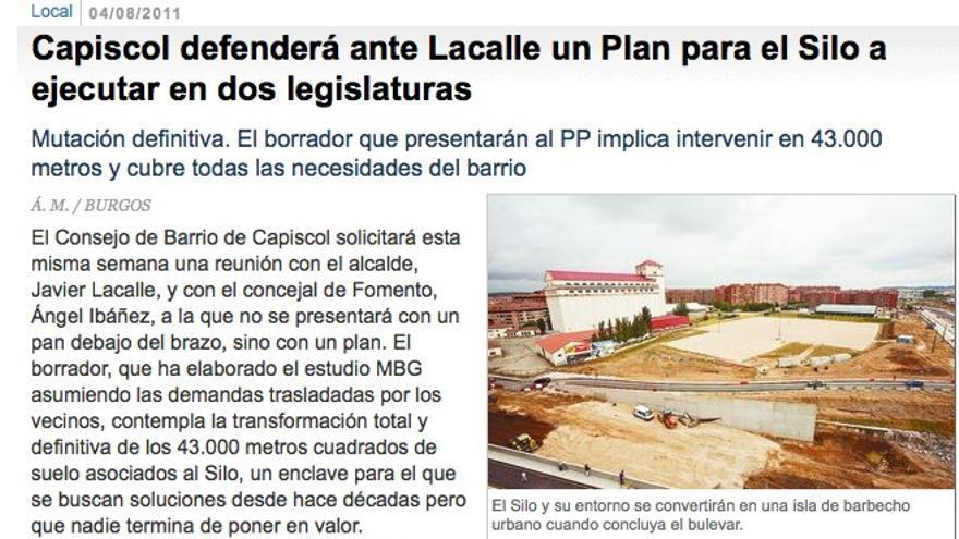 Noticia publicada en el Diario de Burgos el 4 de agosto de 2011.