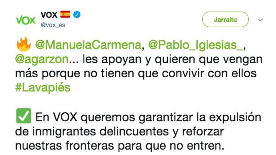 Tuit xenófobo de VOX