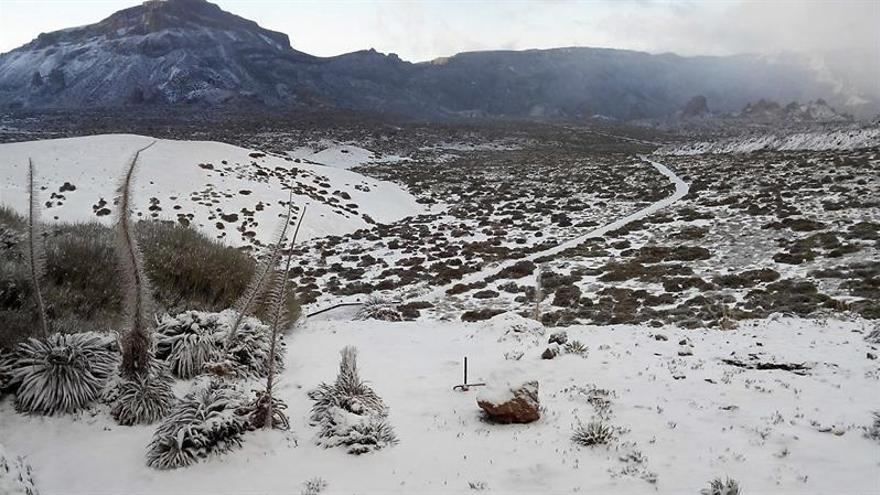 Fotografía facilitada por la empresa Teleférico del Teide de la nieve caída en el Parque Nacional del Teide debido a la borrasca que en las últimas 48 horas ha afectado a Canarias. EFE