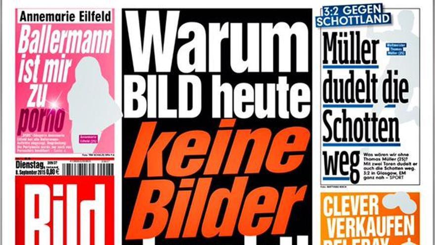 La portada del Bild Zeitung sin fotos.