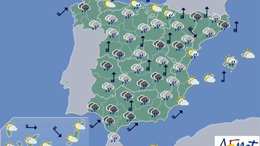 Se prevén para hoy intensas lluvias y fuerte viento en casi toda España
