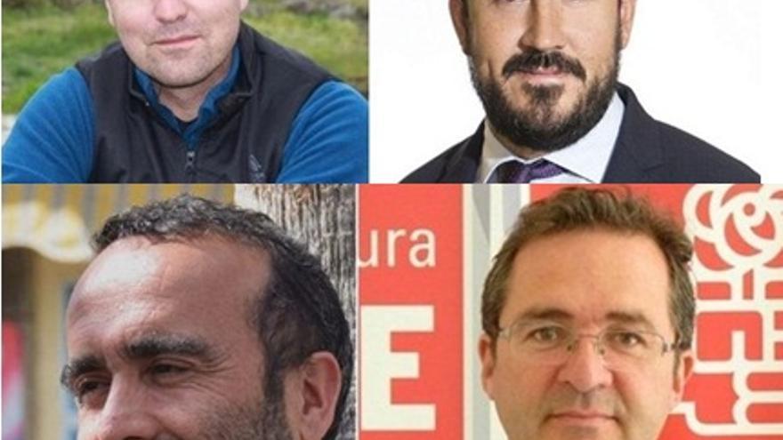 Los cuatro candidatos a las primarias del PSOE en las provincias extremeñas