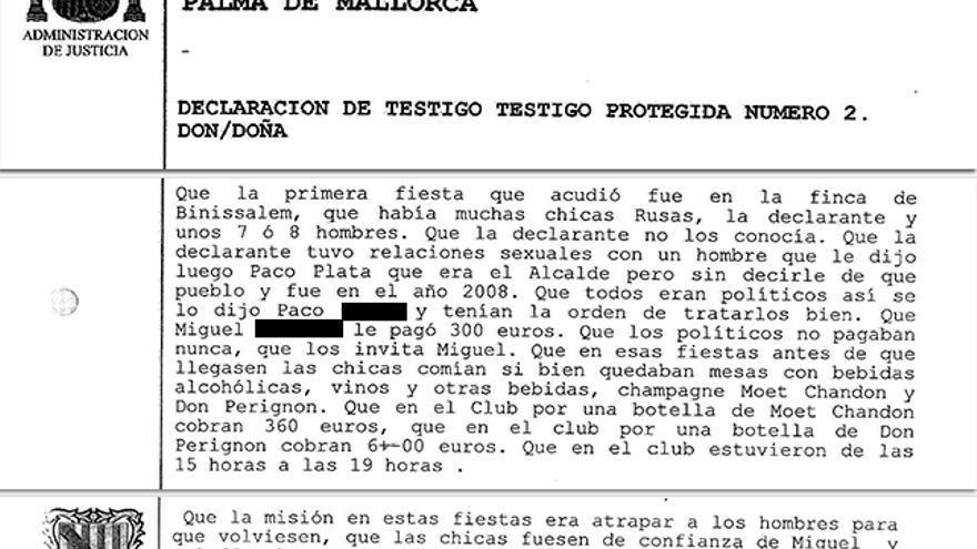 Un fragmento de la declaración de la testigo protegida en el caso de la mafia policial de Palma