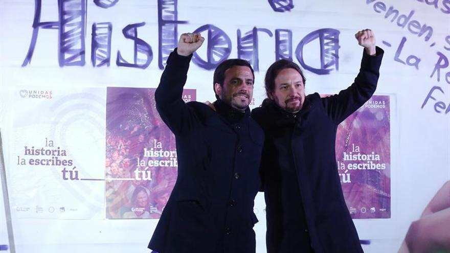 Pablo Iglesias y Alberto Garzón, en el arranque de la campaña del 26J.