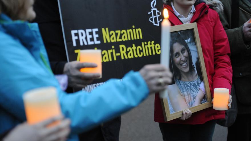 Protesta por la liberación de Nazanin Zaghari-Ratcliffe, trabajadora de una organización benéfica encarcelada en Irán desde abril de 2016