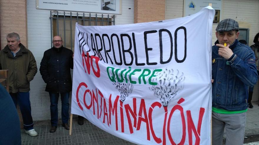 Un momento de la protesta en Villarrobledo