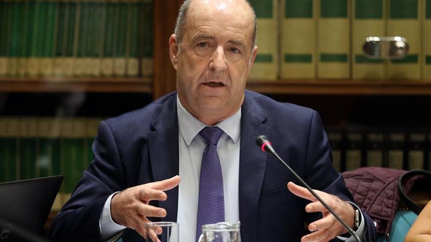 El consejero de Economía, Industria, Comercio y Conocimiento del Gobierno de Canarias, Pedro Ortega, compareció en comisión parlamentaria para informar sobre la autorización para la instalación de una planta regasificadora en Granadilla de Abona (Tenerife), entre otros asuntos. EFE/Cristóbal García